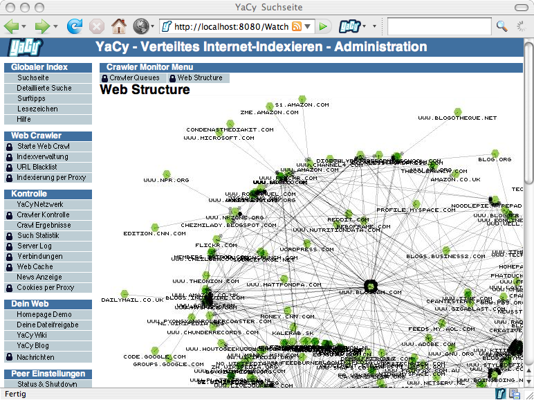 YaCy Webstructure in Action