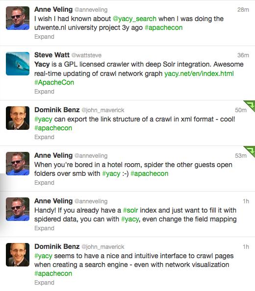 YaCy Tweets at ApacheCon 2012